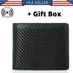 RFID Blocking Men#x27;s Carbon Fiber Leather Bifold Credit Card ID Holder Wallet US $10.99