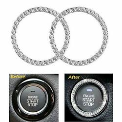 2Pcs Crystal Rhinestone Ring for Car Decor Auto Engine Start Stop Decoration Cr $10.10