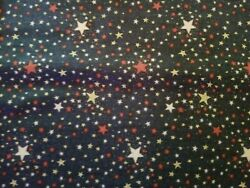 BTY Patriotic Blue Star Cotton Fabric Red White stars on blue Quilting Treasures $12.99