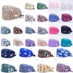 Surgical Cap Doctor Nurse Cotton Bouffant Hat Adjustable Button Head Cover $4.14