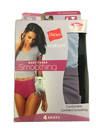 Size 7Large Hanes Premium Body Toner Smoothing Briefs Panties 4 Pack $12.00
