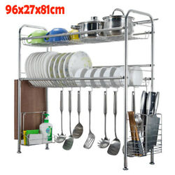 Over The Sink Dish Drying Shelf Stainless Steel Cutlery Holder Drainer Rack New $55.99
