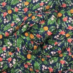 Navy Hawaiian Pineapple Cotton Poplin Print Fabric 43