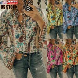 Women#x27;s Flare Sleeve Boho Blouse Holiday Floral Casual Loose V Neck T Shirt Tops $16.79