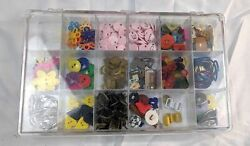 Plastic Bin Case with Lots of Scrapbook Craft Supplies Button Pendants Rings $18.04