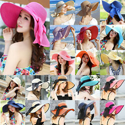 Women's Summer Large Floppy Foldable Wide Brim Cap Bowknot Straw Beach Sun Hat $16.71