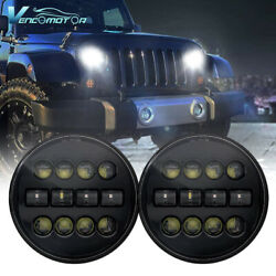 Pair 7 Inch Round LED Headlights HiLo Angle Eyes For Jeep Wrangler JK LJ TJ CJ $39.99