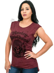 Harley Davidson Womens Reaper Ride Washed Burgundy Raw Edge Sleeveless T Shirt $19.99