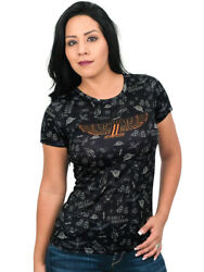 Harley-Davidson Ladies Winged #1 Flash Art Black Short Sleeve Polyester T-Shirt $9.99