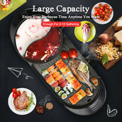2 in 1 Portable Electric Hot Pot Barbecue Grill Non-Stick Teppanyaki Pan 2400 W $73.14