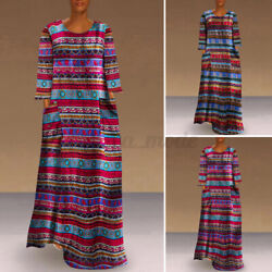 Women Long Sleeve Printed Ladies Baggy Long Dress Vintage Holiday Dresses Kaftan $16.00