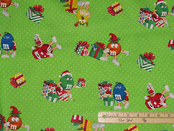 M&Ms Candy Christmas Present Toss Chocolate Cotton Fabric  12 Yard   #41979 $7.99