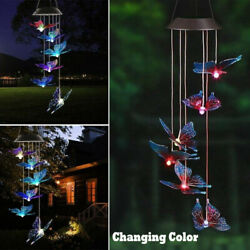 Solar Color Changing LED Butterfly Wind Chimes Garden Yard Hanging Light Lamp US $11.99
