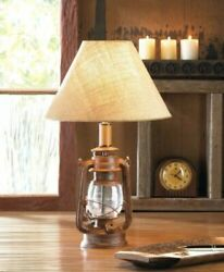 vintage style old fashioned rustic camping oil lamp bedside end Table Lamp shade $58.00