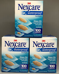Nexcare 3M Waterproof Bandages 100 Assorted 3 BOXES 300 Bandages Total $14.50