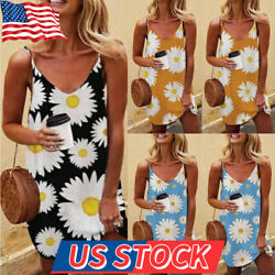 Women V-Neck Sleeveless Slip Dress Bohemian Floral Holiday Summer Beach Sundress $11.99