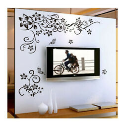 Sticker Black Mural Home decor Flower Vine Removable Wall Butterfly New $3.81