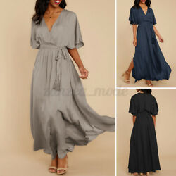 Womens Baggy Bat Sleeve Party Long Maxi Dress Lace Up Side Split Holiday Dresses $16.44
