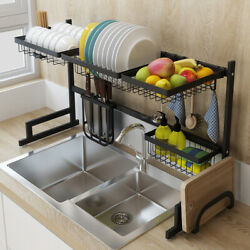 Over The Sink Dish Drying Rack Shelf Stainless Steel Kitchen Cutlery Holder 85cm $24.97