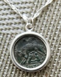 Constantine the Great She Wolf Twins URBS Roma Ancient Coin 925 Silver Necklace