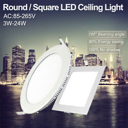 3 24W Round Square Recessed Ceiling Lamp LED Panel Down Lights For Commercial $8.67