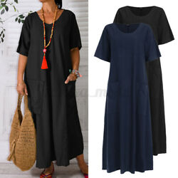 Womens Short Sleeve Baggy Long Dress Casual Holiday Dresses Sundress Plus Size $14.71