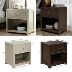 Nightstand Bedroom With Drawer Solid Wood Bedroom End Table Configurable Drawer $173.11