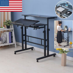 Rolling Height Adjustable Laptop Desk Table Standing Up Office Workstation Study $79.98