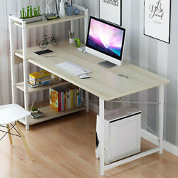 H Shape Computer Laptop Desk Modern Style Curved Straight Desktop with 4 Tiers $200.00