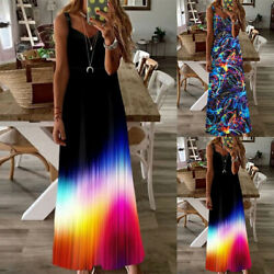 Womens Sleeveless V Neck Print Strap Long Maxi Dress Beach Sundress Plus Size $8.99