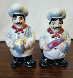 Set of Large Vintage Plump Italian Chefs Salt And Pepper Shakers made in China $14.50