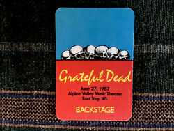 Grateful Dead Backstage Pass 6271987 Alpine Valley WI - Rick Griffin Artwork