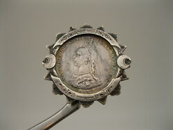 Wonderful Old 1887 Silver Queen Victoria Jubilee Coin Pin  Brooch $3.25