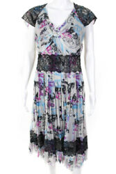 Chanel Womens Silk Graffiti Pleated Lace Dress Purple Blue Black 07C Size 42 EUR