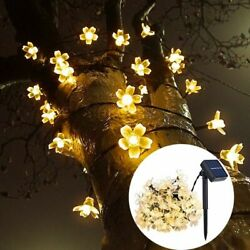 Peach Flower Garland Lawn Lamps Solar Led String Lighting Outdoor Garden Decors $15.15