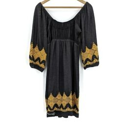 Uncle Frank Women's XS Peasant Embroidered Yellow Black Off Shoulder Dress Midi $27.99