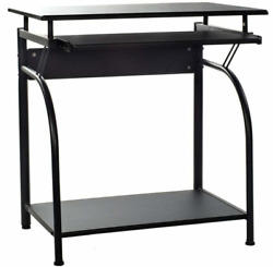 Black Stanton Computer Desk Office Work Space With Pull Out Flat Keyboard Tray $67.50