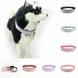Small Pet PU Leather Sequins Collar Puppy Dog Bling Rhinestone Necklace Pendant $10.99