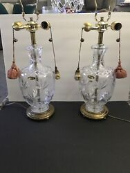 "Pair of Cut Crystal Lamps Fait Main Cristal D#x27;Albret Vintage Made In France 27"" $499.99"