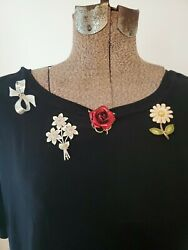 Vintage LOT 4 PINS NOVELTY. Rose daisy jeweled flowers silver look bow. Boho $15.00