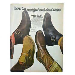 Sears Boot the straight laced shoe 1969 LOOK vintage Magazine page Retro Boots $9.95