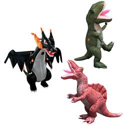 Dinosaur T Rex Inflatable Costume Fire Dragon Animal Halloween Mascot for Adults $199.99