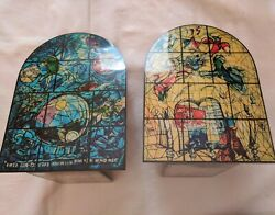 old Jerusalem Israel Chagall Windows wood bookends Simeon and Levi