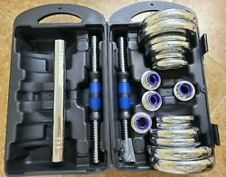 Adjustable 44LB Chrome Dumbbell Weight Barbell Lifting Set 1 DAY QUICK FREE SHIP $99.95