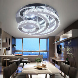 Modern Crystal Led Chandelier Moon Shaped contemporary Ceiling Pendant Light $74.99