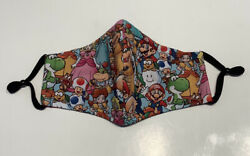 Handmade Fabric Face Mask With Nose Wire amp; Filter Pocket Super Mario amp; Friends $10.00