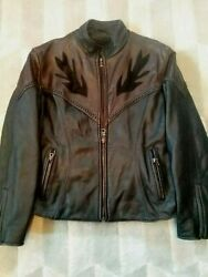 WOMENS LEATHER JACKET*SIZE12 ☆MEGA FORCE☆ BLACKBROWN☆BIKER STYLE☆ZIP-OUT LINING