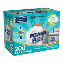 Member#x27;s Mark Power Flex Tall Kitchen Bags Pack of 200 $24.99