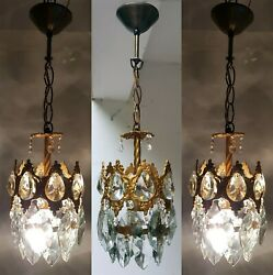 Three Matching Antique Vintage Brass amp; Crystals French Small Chandelier Lamp GBP 395.00