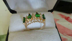 14 gold diamonds and green stones ring size 5 1 2 weight 36 g $245.00